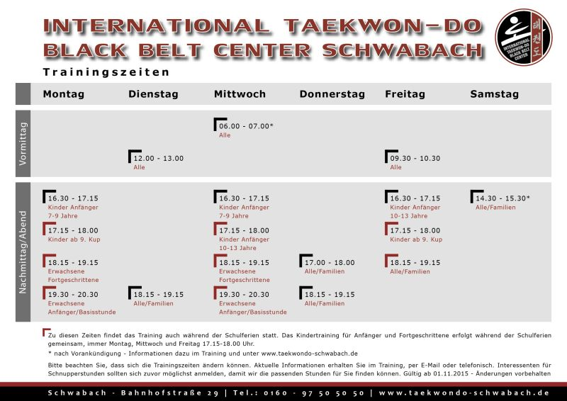 Trainingszeiten im International Taekwon-Do Black Belt Center Schwabach - Stundenplan im Taekwondo-Center gültig ab 01.02.2015