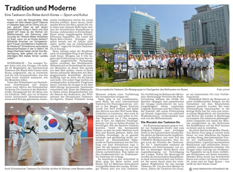 Schwabacher Tagblatt berichtet: International Taekwon-Do Black Belt Center Schwabach auf Taekwon-Do-Reise durch Korea